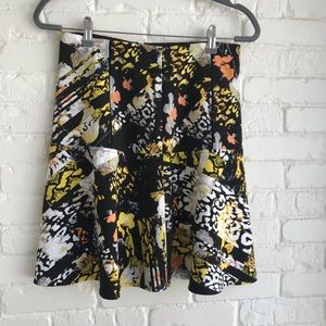 Kenneth Cole Black Floral Yellow Stretch Skirt 4